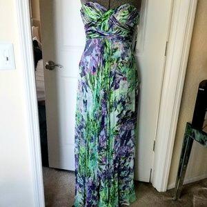 Silk strapless Aidan Mattox floral gown Sz 4